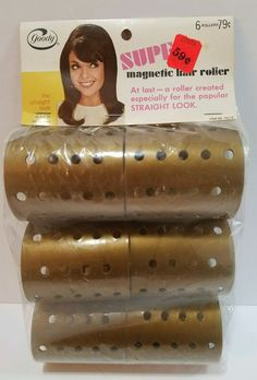 "(1) Vintage Goody 6-Pack of 2 3/4"" SUPER Magnetic Hair Rollers Gold No. 564/9 #Goody"