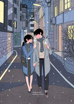 Heart-Warming Illustrations Depict The Romantic Moments Of A Happy Couple Paar Illustration, Childrens Book Illustration, Korean Illustration, Illustration Art Nouveau, Couple Illustration, Art Anime, Manga Anime, Aesthetic Anime, Aesthetic Art