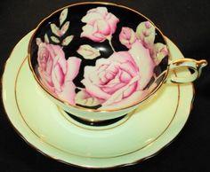PARAGON ENGLAND ROYAL PINK ROSES Minty BLACK