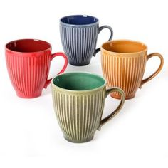 Mr Coffee Baressa Set of 4 17 oz Round Coffee Mugs colors amber blue green yellow ** Continue to the product at the image link.