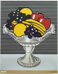 Roy Lichtenstein Still Life with Crystal Bowl, Oil and acrylic on canvas, 52 × 42 in. Whitney Museum of American Art, purchase, with funds from Frances and Sydney Lewis © Estate of Roy Lichtenstein Roy Lichtenstein Pop Art, Robert Rauschenberg, Jasper Johns, Arte Pop, Fiesta Pop Art, Bd Pop Art, Pop Art Food, Kunst Party, Pop Art Party
