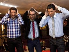 Drew and Jonathan Scott aka The Property Brothers and Brooks from HGTV Star...Its all about the hair~Always fun to see what Brooks came up with!