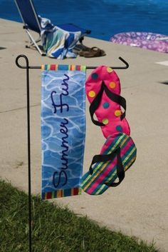 "Tropical Flip Flop Paradise Summer Fun Garden Flag by Evergreen. $8.11. Fits garden flag stand. Garden Flag size is approx. 12.5 inches wide x 18 inches long. 2-sided. High quality nylon. Our Applique Flags are made with high quality material with rich and deep color and detail. They are also double sided for an amazing display whichever side of the flag you're on! Flag Size: 12.5"" x 18""Make an impression! These beautiful, brightly colored, creatively designed fl..."