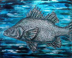 Hand-embossed swimming fish painting gloss acrylic on by edenbee
