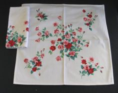 """Wilendur Pink & Red """"Princess Rose"""" Napkins (Set of Two) in Excellent Unused Condition #2"""