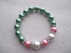 Pink and Green Pearl Stretch Bracelet With by GoviGirl AKA 1908 #followprettypearlsinc