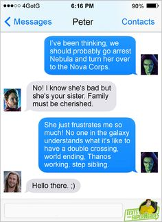 Gamora and Nebula are just Thor and Loki. Would love a scene with Nebula and Loki in IW. - Visit to grab an amazing super hero shirt now on sale! Marvel Fan, Marvel Dc Comics, Marvel Heroes, Marvel Avengers, Funny Marvel Memes, Dc Memes, Marvel Jokes, Avengers Texts, Superhero Texts