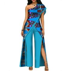 2017 new autumn African jumpsuit for women sexy off shoulder Jumpsuit dashiki clothing batik wax printing pure cotton African Dashiki, African Fashion Ankara, Latest African Fashion Dresses, African Print Fashion, Africa Fashion, African Traditional Dresses, Traditional Outfits, Long African Dresses, African Clothes