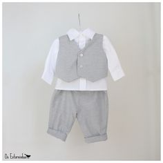 Boys outfit Gray cotton pants gray vest and by OsEstorninhos