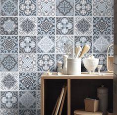 Tiles Stickers Vintage Blue Gray - Tiles Decals - Tiles for Kitchen Backsplash or Bathroom - PACK OF 16 - SKU:VintBGTiles