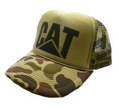 Vintage Cat tractors Hat trucker hat snap back Green Camouflage hunting cap new #TruckerHats #TruckerHat Black Baseball Cap, Baseball Hats, Vintage Trucker Hats, 5 Panel Cap, Hunting Hat, Vintage Cat, Vintage Style, Snap Backs, Snapback Hats