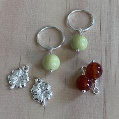 Silver Sleepers & Lemon Jasper, Carnelian, Clover Charm Earrings