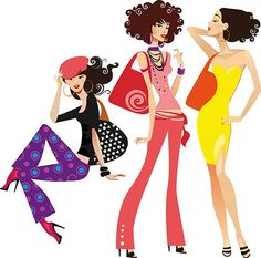 Chicas de compras - vectoriales, imagen vectorial.: