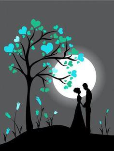 Luna, pareja, amor, romance.