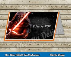Star Wars Food Tents EDITABLE , Place Cards, Food Label decoration, Force Awakens, Food cards, party ideas, custom birthday, Birthday