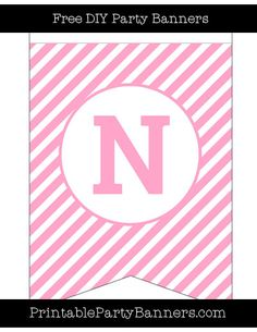 Carnation Pink And White Swallowtail Diagonal Striped Capital Letter N