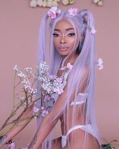 Nyane Nyané Lebajoa wearing Temper hair queen serenity wig from temperhair temperbeauty lip liner nyanelebajoa silver hair white hair space buns Purple Wig, Hair Color Purple, Blue Hair, White Hair, Hair Dye Colors, Red Purple, Brown Hair, Kawaii Hairstyles, Hairstyles With Bangs