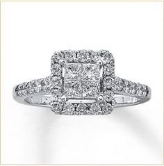 Kay Jewelers White Gold Carat Diamond Solitaire engagement ring - I think I just fell in love Used Engagement Rings, Princess Cut Engagement Rings, Diamond Engagement Rings, Diamond Rings, Ruby Rings, Kay Jewelers Bridal Sets, Bridesmaid Jewelry Sets, Wedding Rings For Women, Princess Cut Diamonds