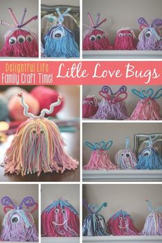 Looking for an adorable Valentine's Day craft for the whole family? Look no further. We couldn't stop making these charming little critters! Made with yarn, small cups (or egg cartons), and any decorations your heart desires, your whole family will have fun for hours! via @jenniferkaufman