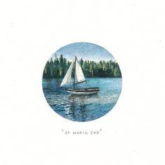 Throwback to Week 3 : #freefridays. ⚓️ #potluck100pfa #miniature #watercolour…