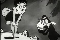 Still from Talkartoon 'Dizzy Dishes' (1930) featuring a waiter looking at Betty Boop (in her debut)