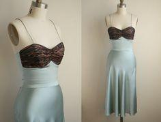 Teal Silk Slip Dress with Leopard Silk Chiffon Bust - Mermaid Style Nightgown - Vintage Lingerie. $142.00, via Etsy.