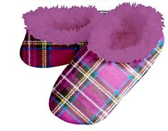 Snoozies Womens Plaids and Stripes Fur Plush Fleece Lined Footcoverings -- You can get more details by clicking on the image.