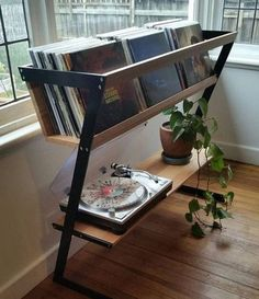 Vinyl Record Storage Diy Fresh Seriously Nice Vinyl Record Stand with A Shelf fo. - Vinyl Record Storage Diy Fresh Seriously Nice Vinyl Record Stand with A Shelf for the Player Could - Vinyl Record Stand, Diy Casa, Home And Deco, New Room, Apartment Living, Living Spaces, Living Room, Furniture Design, Furniture Storage