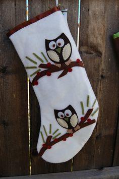 Woodland Owls Felt Stocking by happylittleones on Etsy, $35.00