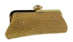 Colour Available in : Gold,Silver,Black    BRAND NEW PARTY OR WEDDING GOLD PURSE WITH A BEAUTIFUL STYLED CLUTCH WITH BIG DIAMONDS ATTACHED. The purse contains diamonds and is very shiny and stunning  Long golden chain included  !! MUST BUY!