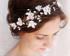 bridal headpiece, flower crown wedding, white floral headband, wedding headpiece, bridal hair piece flower, floral headband, with pearls