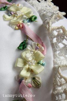 ribbon needlework | Silk Ribbon Embroidery on heirloom bonnet | Flickr - Photo Sharing!