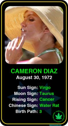#Famous #Pot Smokers: Cameron Diaz - Check out more famous pot smokers here! https://www.astroconnects.com/galleries/celeb-featured-galleries/famous-marijuana-users #astrology #horoscope #zodiac #celebrity #marijuana #camerondiaz