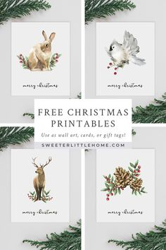 Gorgeous free Christmas printables for your holiday decorating! Featuring watercolor animals and winter motifs.Gorgeous free Christmas printables with watercolour woodland animals. Designed as wall art, you can also use them as greeting cards or gift tags Noel Christmas, Christmas Presents, Vintage Christmas, Christmas Crafts, Christmas Animals, Christmas Cookies, Christmas Wall Art, Christmas Ideas, French Christmas