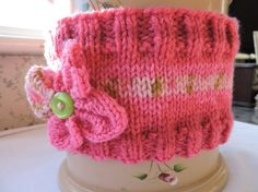 Hand Knitted Pink Chunky Flower Headband Ear Warmer £3.00