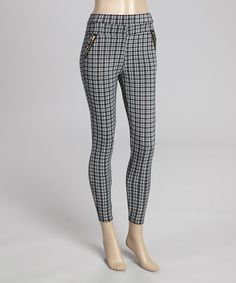 Another great find on #zulily! Black & Teal Plaid Leggings by Poplooks #zulilyfinds