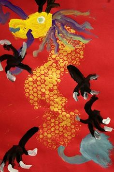 Bubble wrap print grade or K printing opportunity! grade Chinese New Year Dragon painting RT Artsonia Art Museum :: Artwork by Chinese New Year Dragon, Chinese New Year Activities, New Year Art, Chinese New Year Crafts, 2nd Grade Art, Thinking Day, We Are The World, Winter Art, Dragon Art