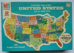 Vintage Milton Bradley Jigsaw Puzzle - Authentic Map of the United States - Sealed Box from 1975 - Made in USA. I remember this. We had this puzzle, but I think ours dated to around World Map Puzzle, Toys For Tots, Milton Bradley, United States Map, Vintage Cards, Fun Learning, Childhood Memories, Cool Things To Buy, Jigsaw Puzzles