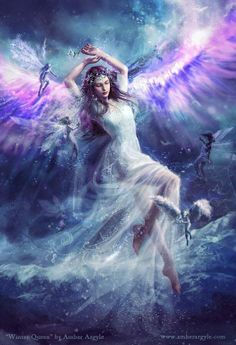 """You are protected, fiercely guarded and loved by us...Call on us!  We are here and only want to help you.  We are your Angels, Spirit Guides and Loved Ones in Spirit...We are with you always. - Unknown  (~Gabriellyn~) Art: """"Winter Queen"""" by Amber Argyle, www.amberargyle.com"""