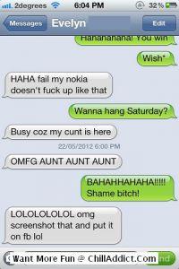 Iphone Text Messages: Bahahahahaha!!!! Shame B**Tch