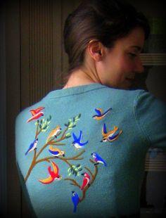 My latest needle felted sweater. I think I have a new addiction.