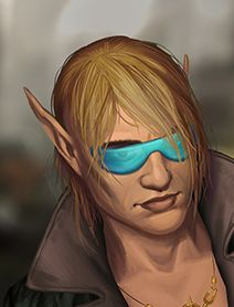 """Dodger"", male elf decker; shadowrun; glasses; blond"