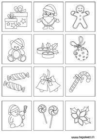 Tulosta ja askartele jouluinen muistipeli | Hepokatti.fi - puuhaa ja tekemistä lapsille >> askarteluohjeita lapsille, värityskuvia, tehtäviä lapsille, leikkivinkkejä ja pelejä