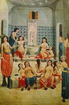 Enderunlu Fazıl'ın hubanname zenanname adlı eserinin minyatürlü bir nüshasında hamamda banyo yapan kadınlar sahnesi 1789.