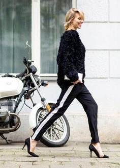 Dress up track pants with pointy-toe pumps. // Photo: The Stylograph #Streetstyle