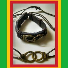 """""""FREE YOUR MIND & YOUR A...."""" Let these two pieces remind you daily how important your FREEDOM is. Miniature handcuffs on vegan leather adjustable waxed hem bracelet and matching necklace. Copper tone handcuffs. Handmade Jewelry Bracelets"""