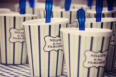 blue striped ice cream cups