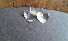 Handmade Stunning Heart Shape Earrings in Solid 925 Sterling Silver -Beautiful !