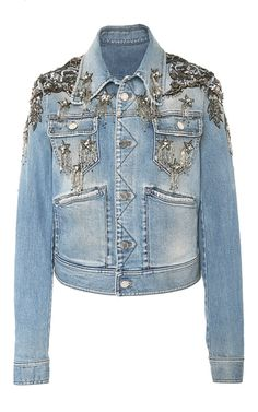 Star Embellished Denim Jacket by ROBERTO CAVALLI for Preorder on Moda Operandi