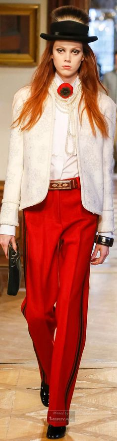 Chanel ~ Pre-Fall 2015-White Short Jacket, Red Silk Pant